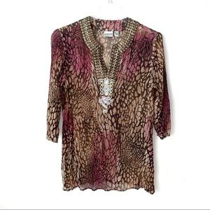 Chico's top pink tan silk embellished boxy XL